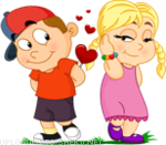 boy and girl in love emoticon