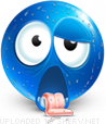 Exhausted emoticon (Blue Face Emoticons)