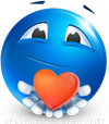 Take My Heart emoticon (Blue Face Emoticons)