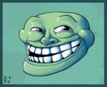Artsy Green Troll Rage Face emoticon (Rage Emoticons)