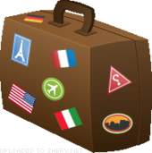 world travellers suitcase icon