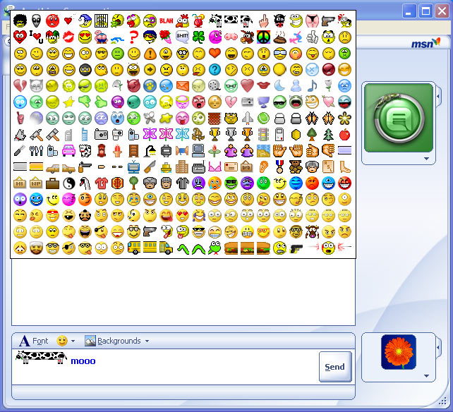 This means you can use over 300 MSN emoticons without remembering